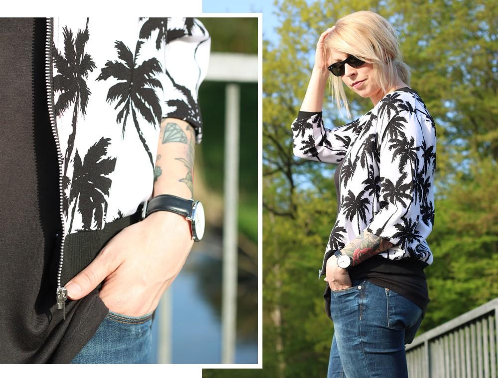 Fashionblogger Outfit Blousonjacke Palmen Jeans Sneaker Ray Ban New Wayfarer (18)