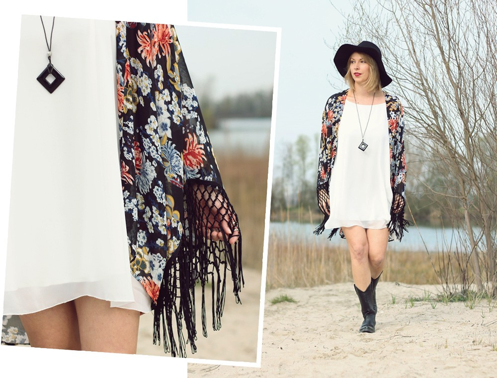 Fashionblogger Outfit Kimono weisses Kleid Cowboystiefel Schlapphut (16)