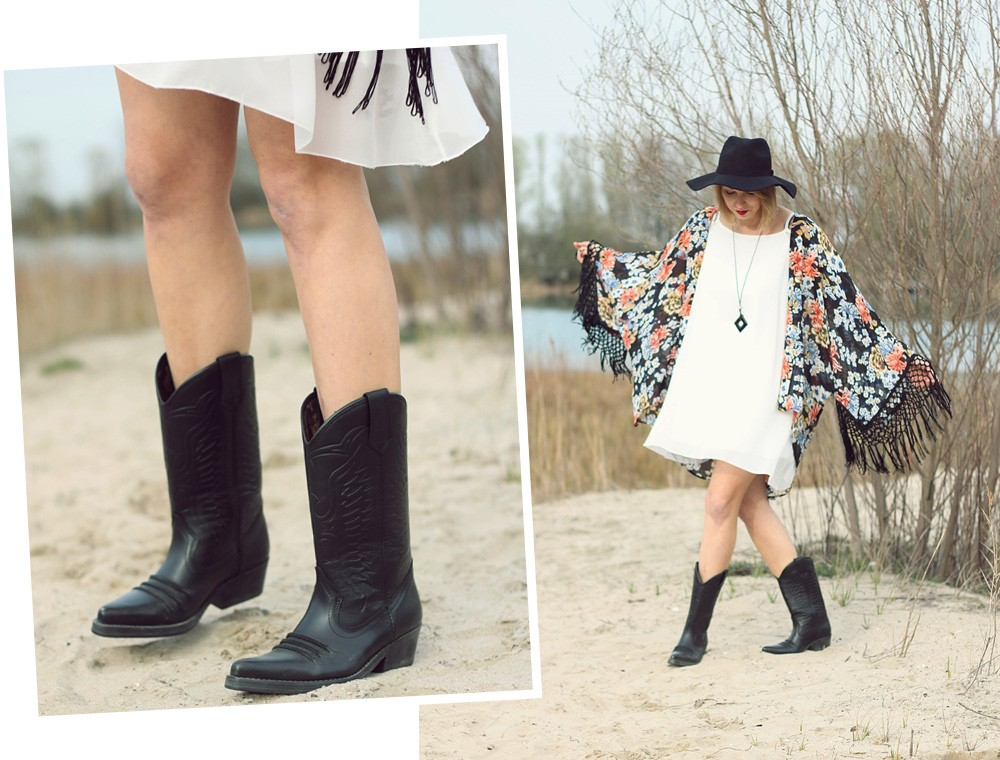 Fashionblogger Outfit Kimono weisses Kleid Cowboystiefel Schlapphut (2)