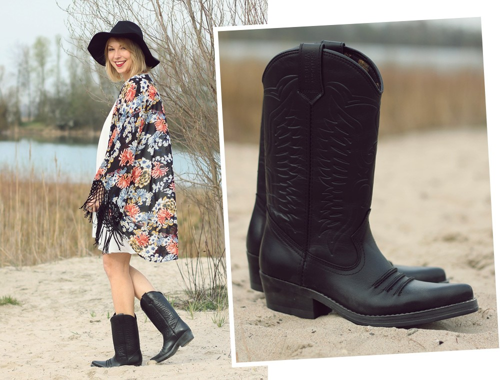 Fashionblogger Outfit Kimono weisses Kleid Cowboystiefel Schlapphut (4)