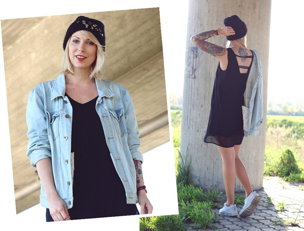 Fashionblogger Karlsruhe Outfit Jeansjacke Kleid Sneaker Beanie Daniel Wellington Dapper (1)