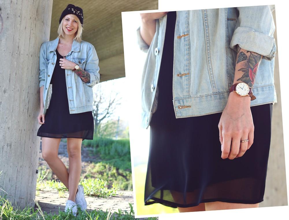 Fashionblogger Karlsruhe Outfit Jeansjacke Kleid Sneaker Beanie Daniel Wellington Dapper (14)