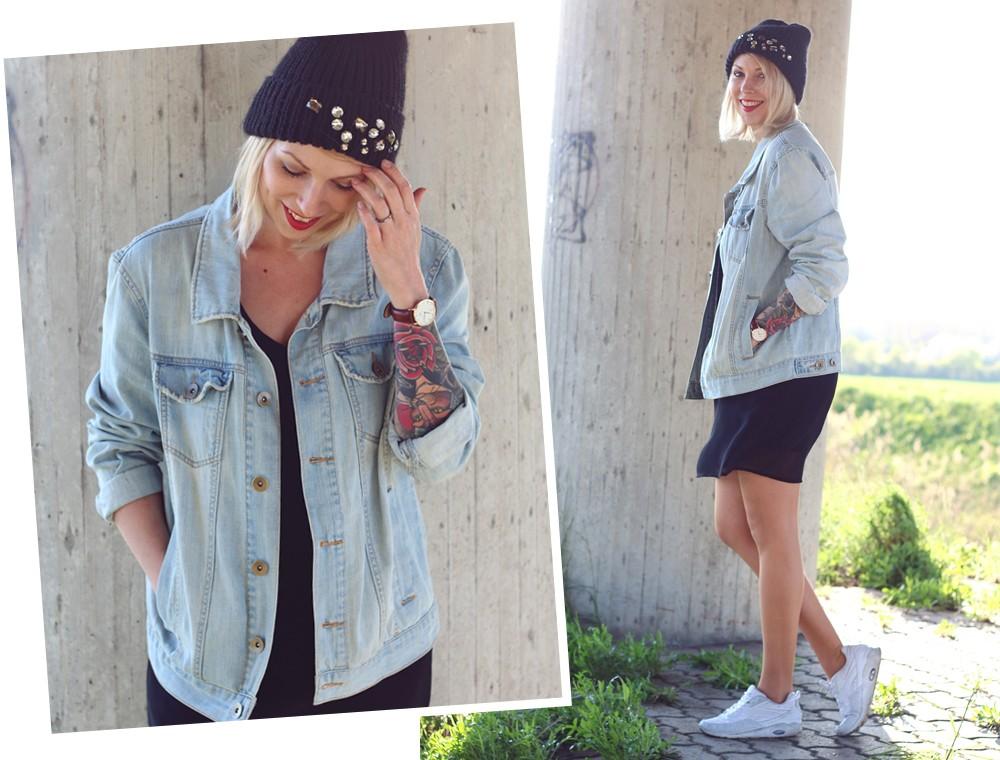 Fashionblogger Karlsruhe Outfit Jeansjacke Kleid Sneaker Beanie Daniel Wellington Dapper (16)