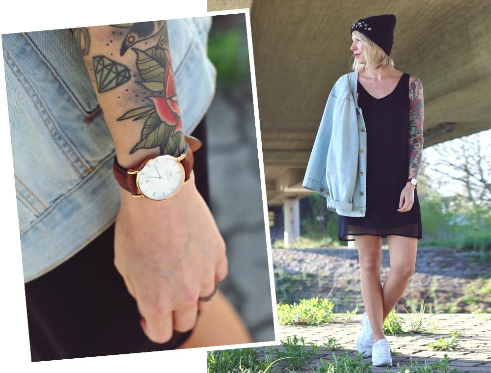 Fashionblogger Karlsruhe Outfit Jeansjacke Kleid Sneaker Beanie Daniel Wellington Dapper (17)