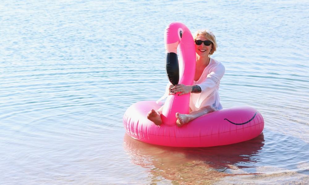 Flamingoschwimmring Donutstrandtuch Accessoires See Strand Radbag (1)