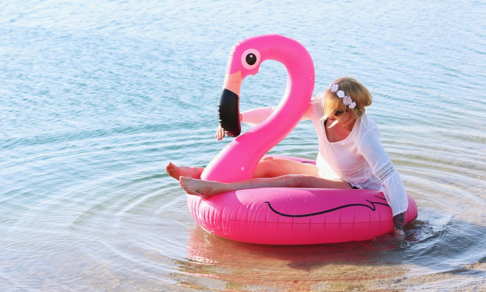 Flamingoschwimmring Donutstrandtuch Accessoires See Strand Radbag (14)