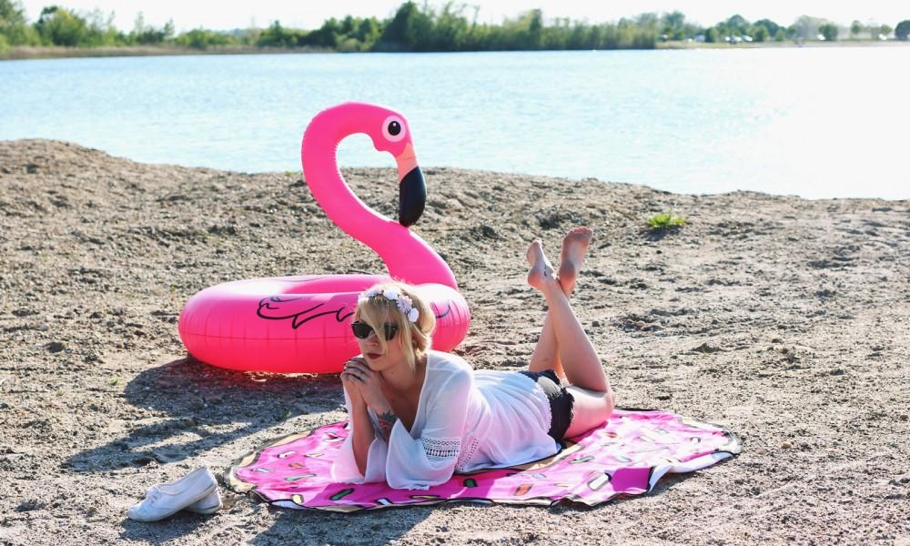 Flamingoschwimmring Donutstrandtuch Accessoires See Strand Radbag (6)