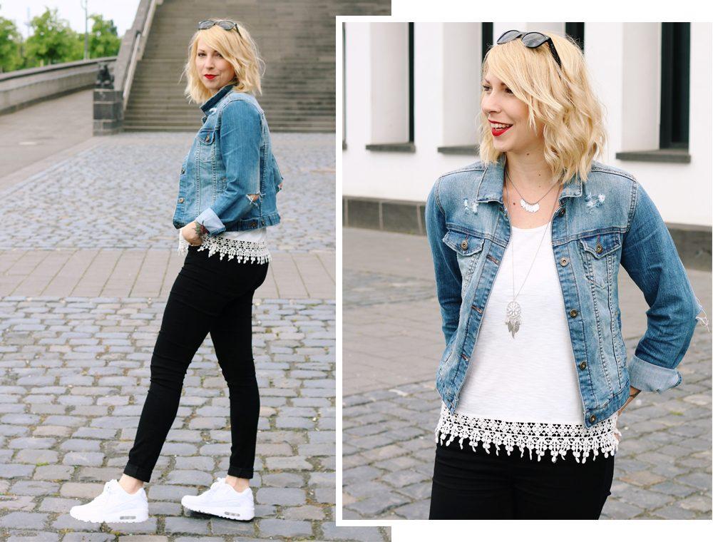 Fashinblogger Frankfurt Outfit Sneaker Jeansjacke Spitzentop (1)