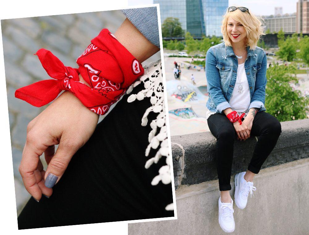 Fashinblogger Frankfurt Outfit Sneaker Jeansjacke Spitzentop (16)