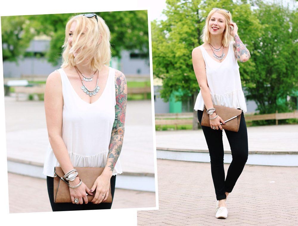 Fashionblogger Outfit Clutch Jeans Schösschentop (3)