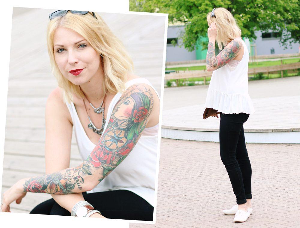 Fashionblogger Outfit Clutch Jeans Schösschentop (4)