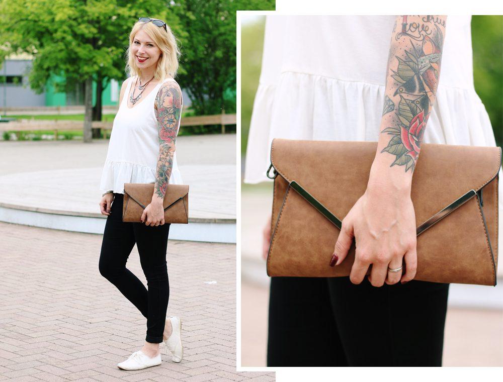 Fashionblogger Outfit Clutch Jeans Schösschentop (5)