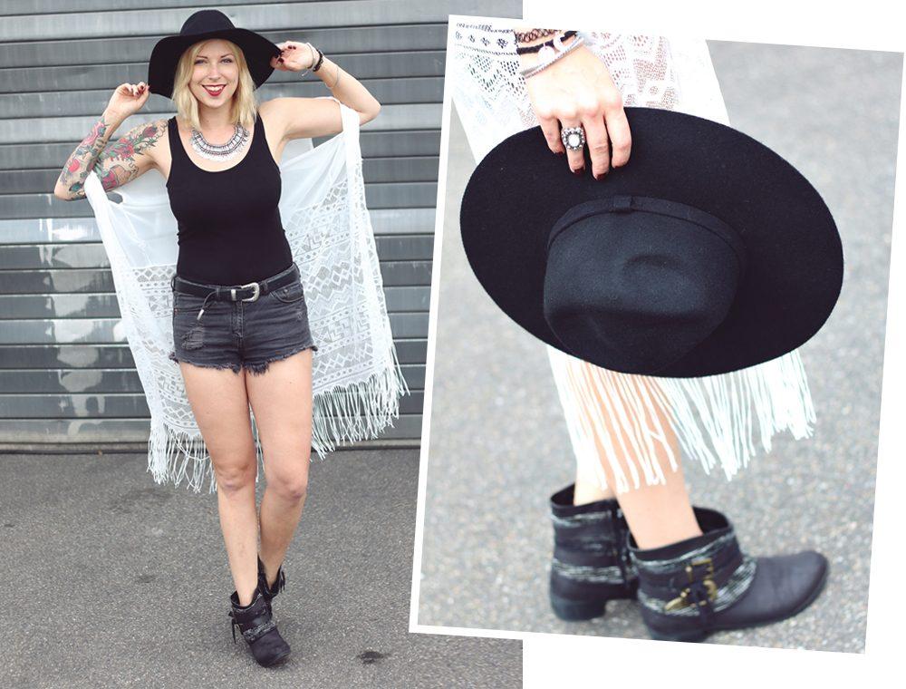 Fashionblogger Outfit Festival Kimono Boots High Waist Shorts Hut Schwarz Weiss (1)