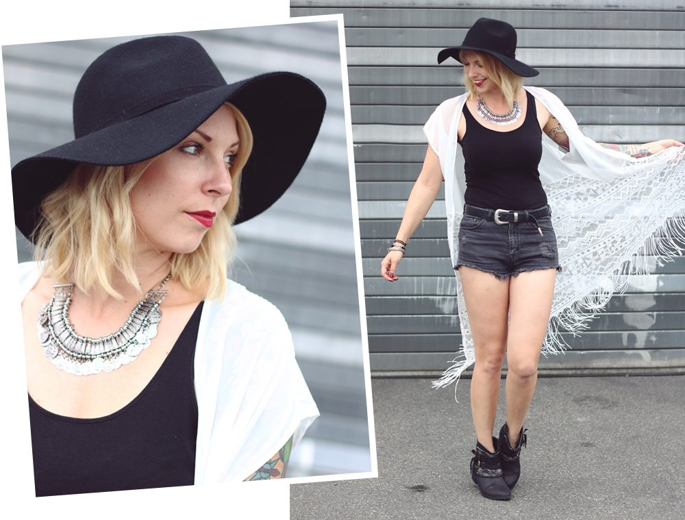Fashionblogger Outfit Festival Kimono Boots High Waist Shorts Hut Schwarz Weiss (18)