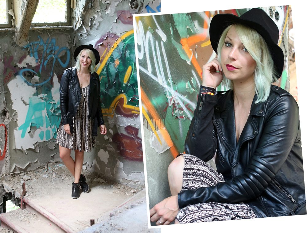 Fashinblogger Outfit Lost Places Berlin Lederjacke Ethnokleid Bikerboots Hut (1)