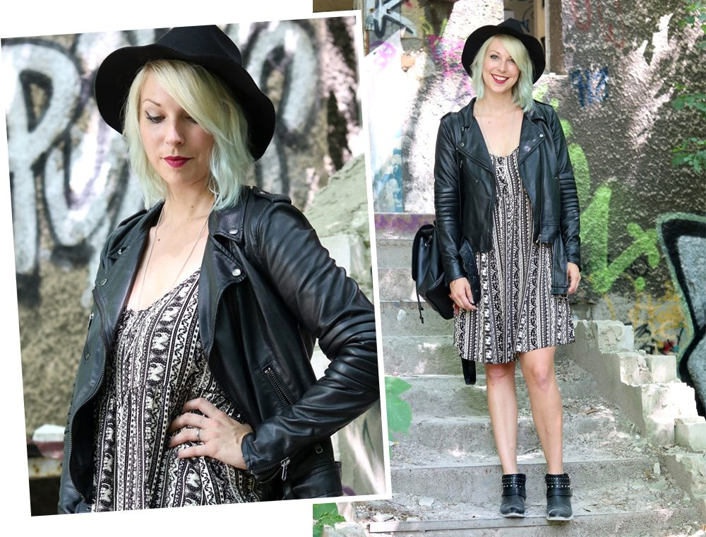 Fashinblogger Outfit Lost Places Berlin Lederjacke Ethnokleid Bikerboots Hut (18)