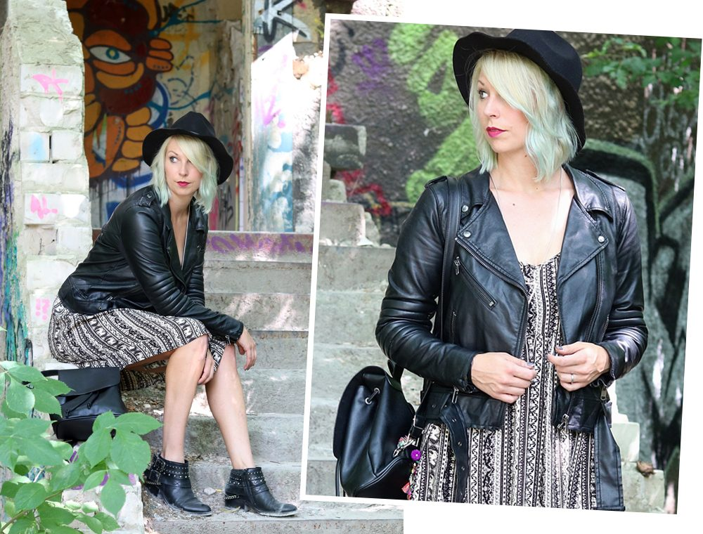 Fashinblogger Outfit Lost Places Berlin Lederjacke Ethnokleid Bikerboots Hut (19)