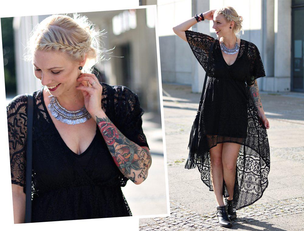 Fashionblogger Outfit Spitzenkleid schwarz Fransentasche Bikerboots Berlin (14)