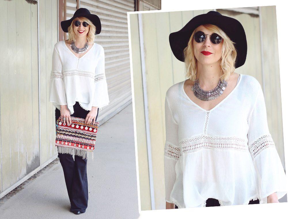 Fashionblogger Boholook Outfit Schlagjeans Bluse Trompetenärmel Schlapphut Ethnoclutch (13)