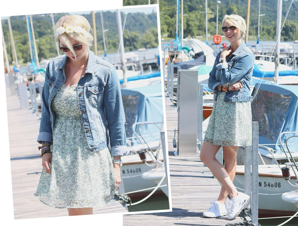 Fashionblogger Outfit Bodensee Blümchenkleid Jeansjacke Nike Air Max Sonnenbrille Gerry Weber (16)