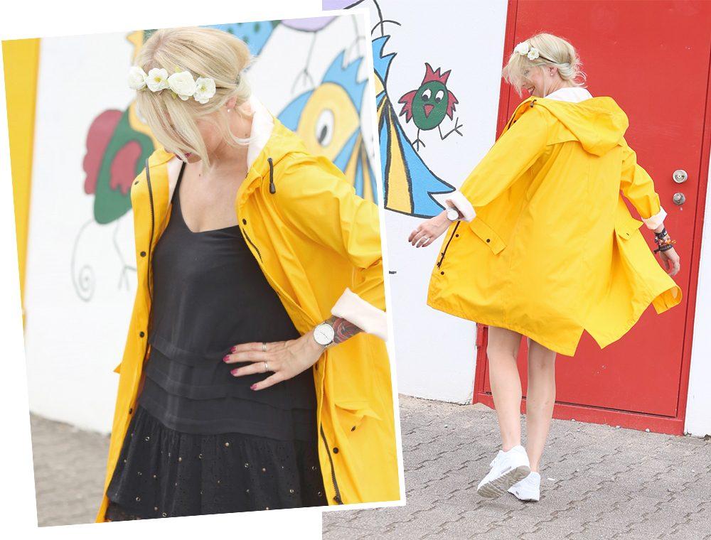 Fashionblogger Outfit Regenmantel gelb Vero Moda Kleid Mango Nike Air Max weiss (15)