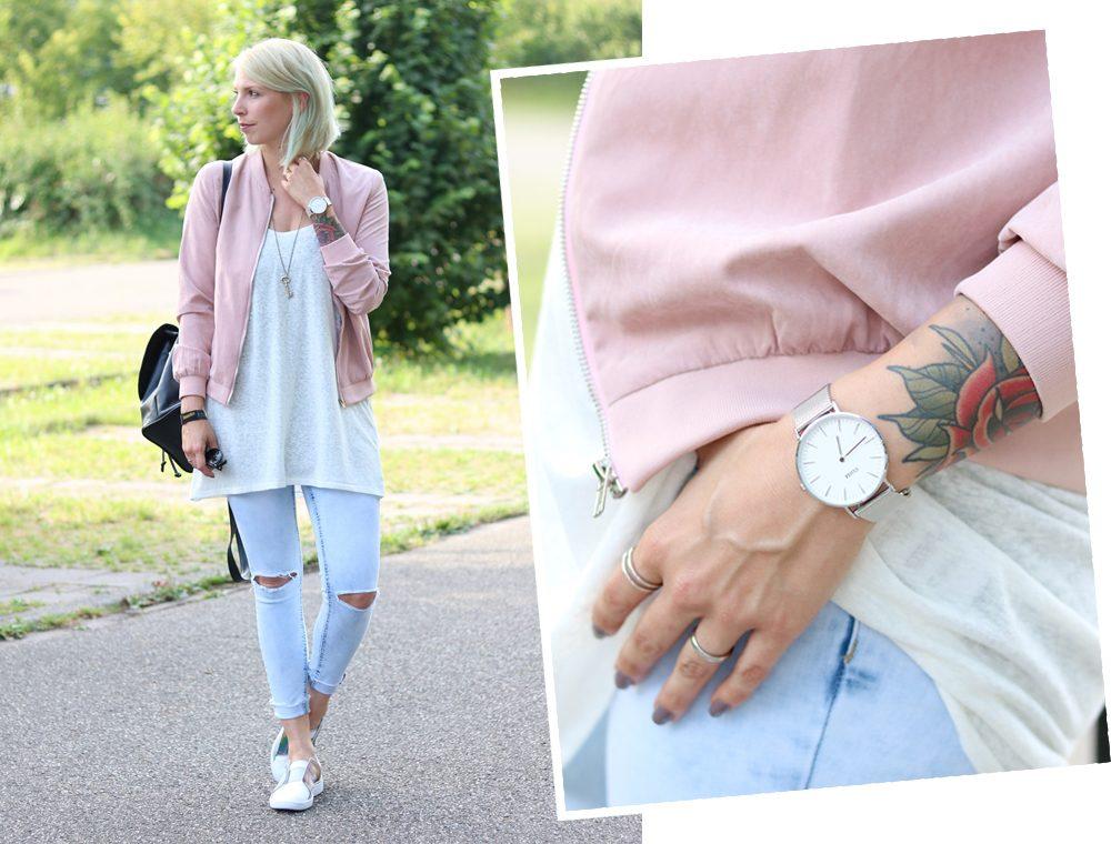 Fashionbloggerin Karlsruhe Outfit rosa Blousonjacke Puma Sneaker Jeans Cluse Uhr (32)