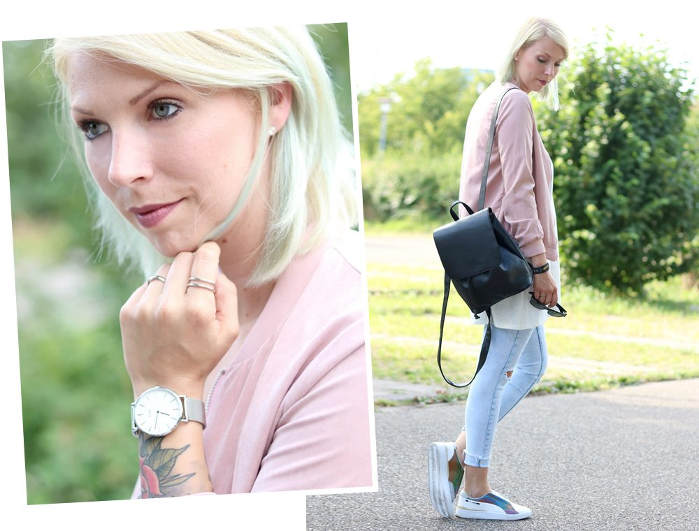 Fashionbloggerin Karlsruhe Outfit rosa Blousonjacke Puma Sneaker Jeans Cluse Uhr (33)