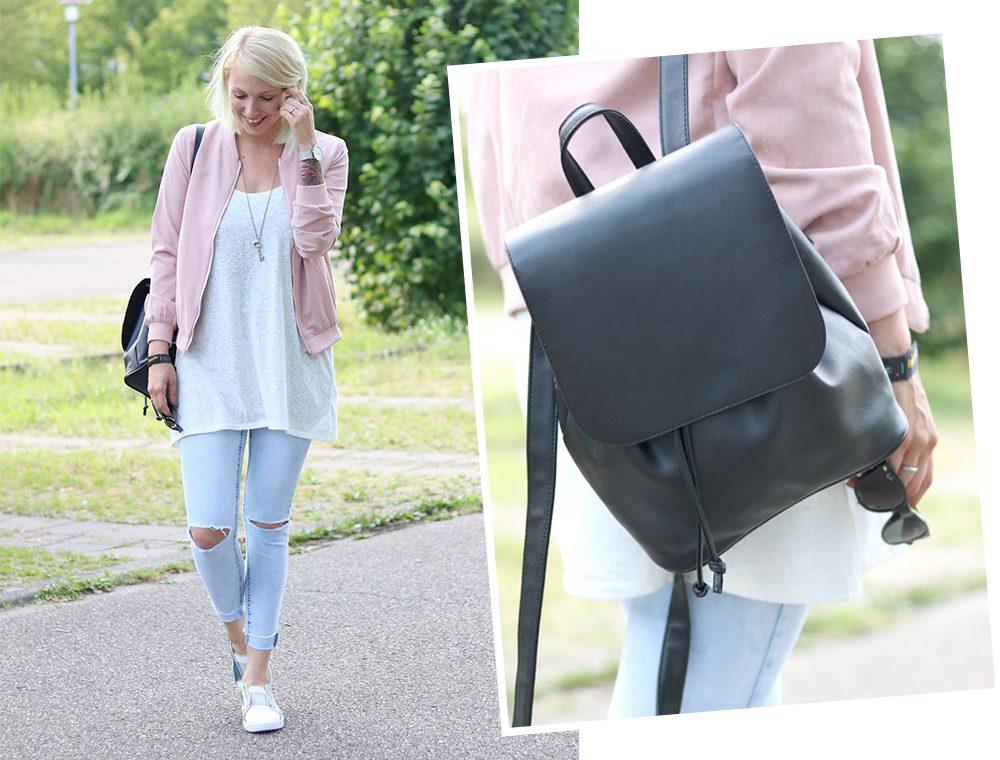 Fashionbloggerin Karlsruhe Outfit rosa Blousonjacke Puma Sneaker Jeans Cluse Uhr (34)