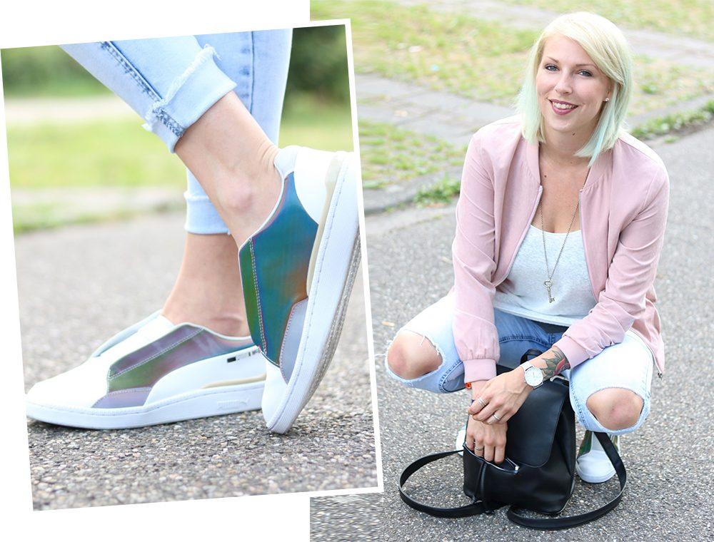 Fashionbloggerin Karlsruhe Outfit rosa Blousonjacke Puma Sneaker Jeans Cluse Uhr (35)