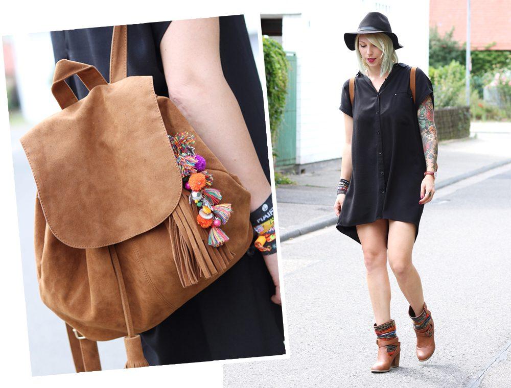 Fashionbloggerin Outfit Blusenkleid Zara Ethnoboots Fransenrucksack Justfab (12)
