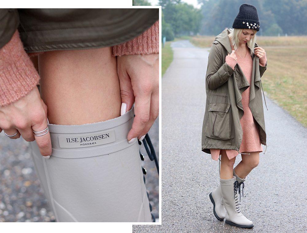 Fashionblogger Outfit Gummistiefel Ilse Jacobsen Strickkleid rosa Parka khaki Oversize Beanie mit Glitzersteinen (16)
