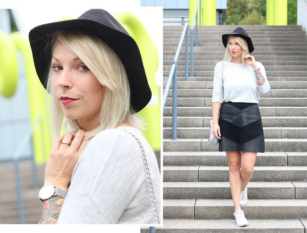 Fashionblogger Outfit Lederrock Zara Hut weisse Sneaker Nike Bad Bitch Fuel Tasche Asos (12)