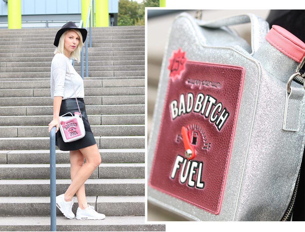 Fashionblogger Outfit Lederrock Zara Hut weisse Sneaker Nike Bad Bitch Fuel Tasche Asos (14)