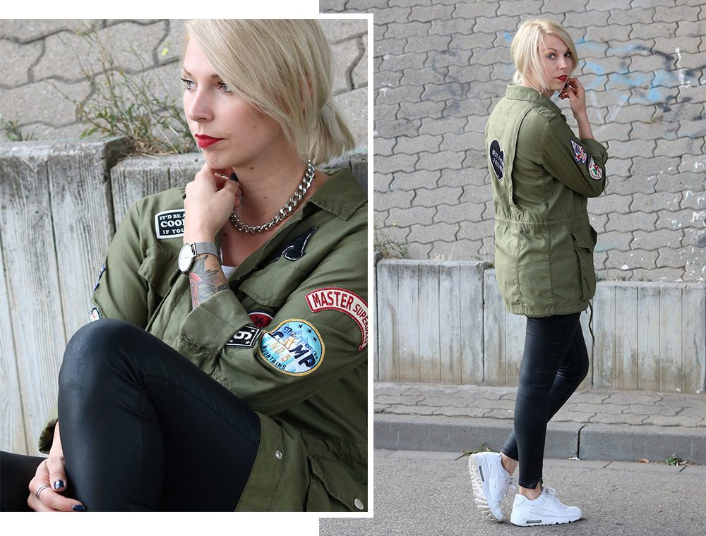 Fashionblogger Outfit Parka Patches Nike Air Max Sneaker schwarze Skinnyjeans gewachst (17)