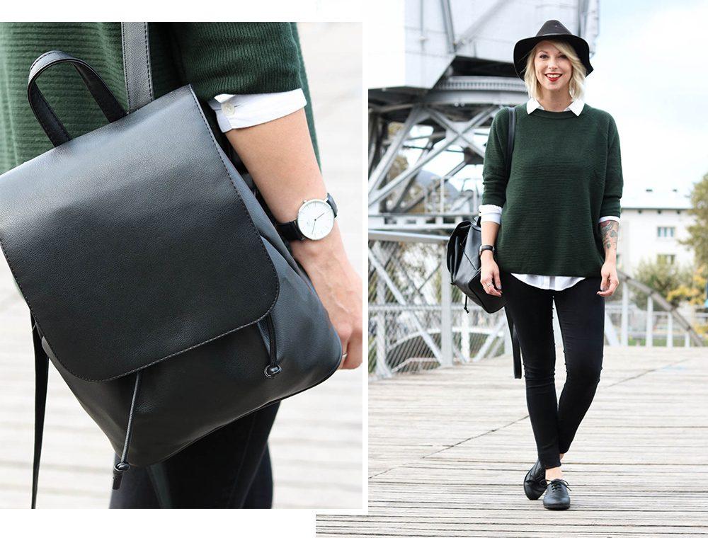 outfit-gruener-strickpullover-weisse-bluse-schwarze-jeans-1