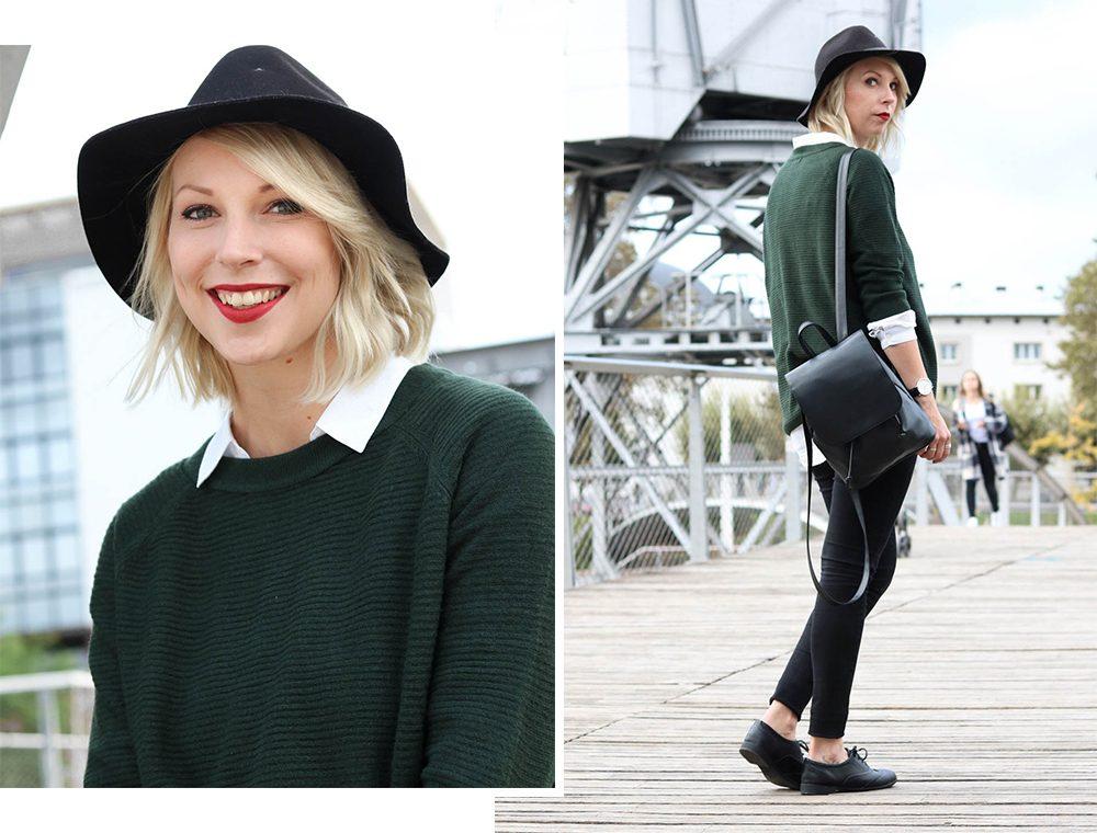 outfit-gruener-strickpullover-weisse-bluse-schwarze-jeans-3