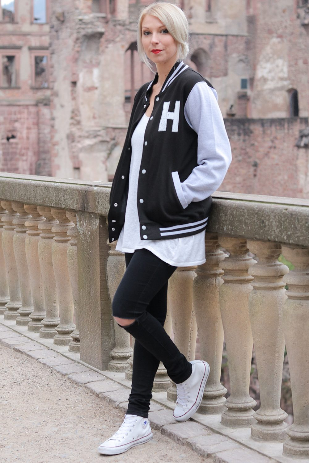 outfit mit college jacke