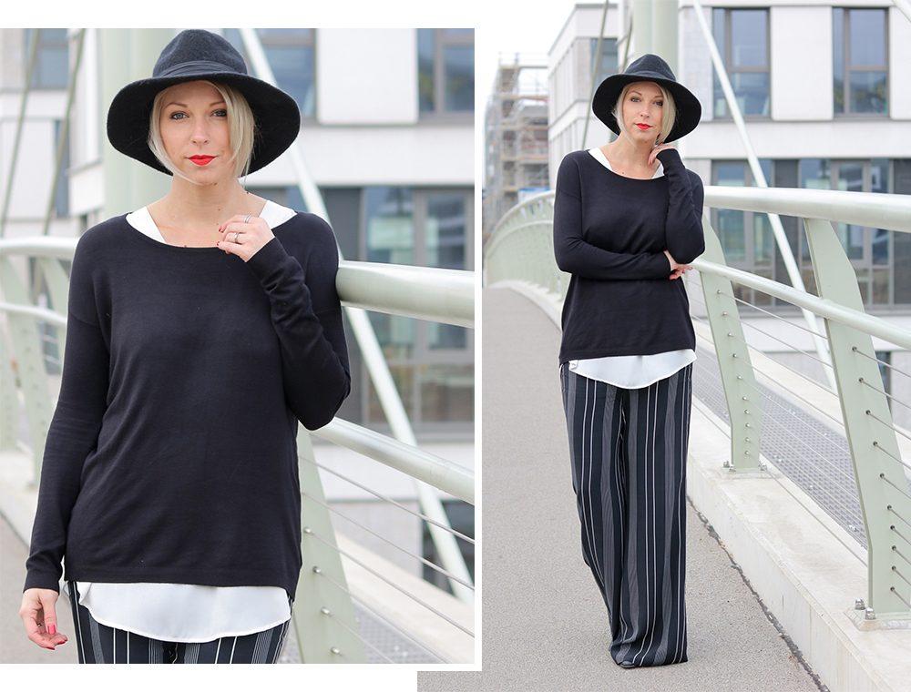 fashionblogger-outfit-palazzohose-streifen-mango-sweater-hut-3
