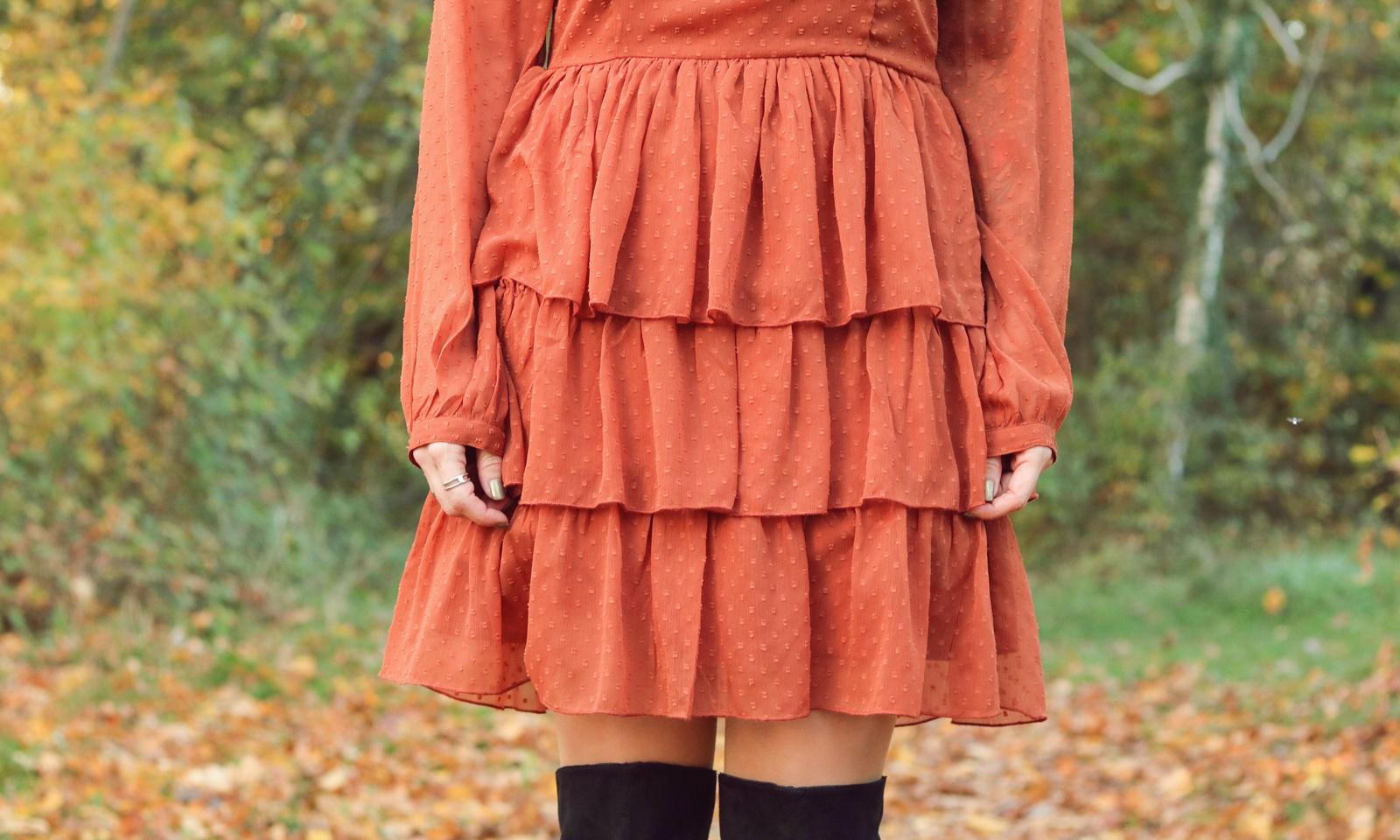 modeblogger karlsruhe outfit herbst kleid vero moda rostrot ...