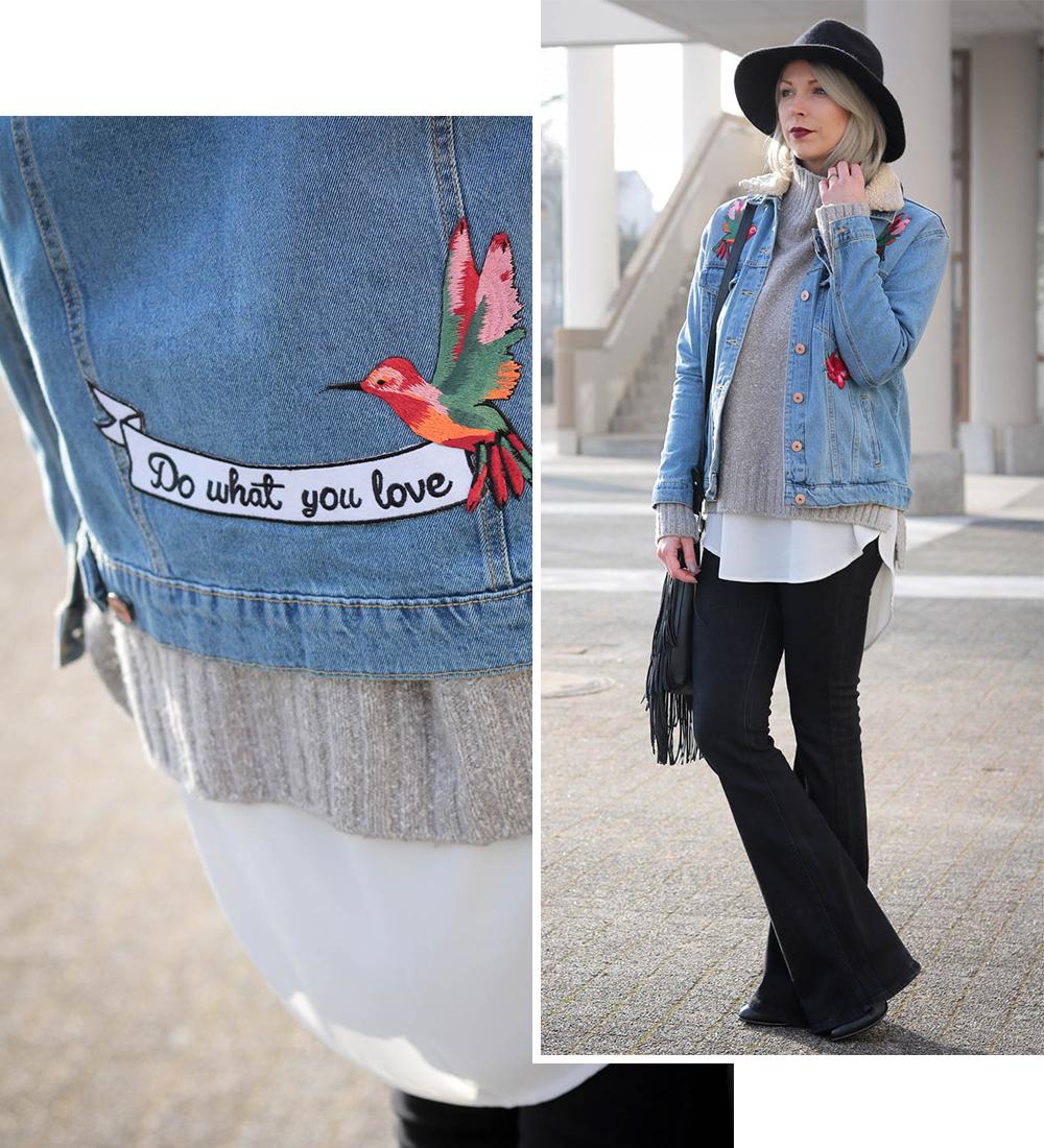 Schwarze jeansjacke mit patches