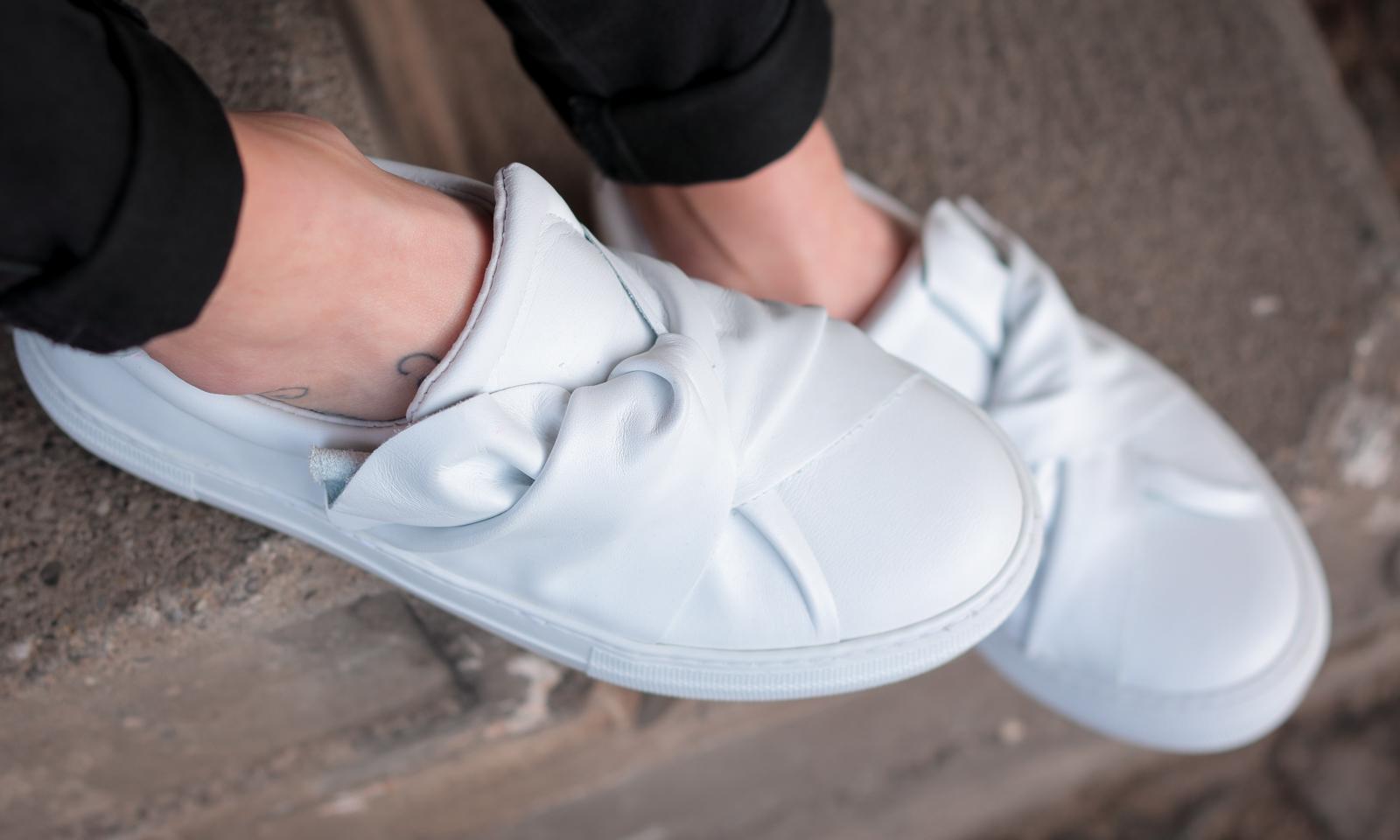 Weisse Sneaker Plateau Schlupf Knoten Sacha Shoes Lavie