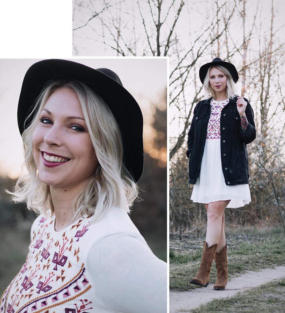 Outfit Westernboots Sacha Boho Kleid Oversized Jeansjacke